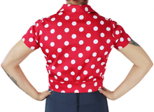 Load image into Gallery viewer, Red Polka Dot Knot Top XS-4XL