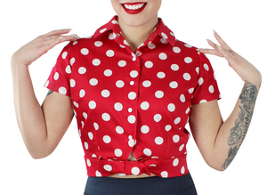 Red Polka Dot Knot Top XS-4XL