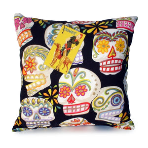 Sugar Skulls Colorful Throw Pillow, front