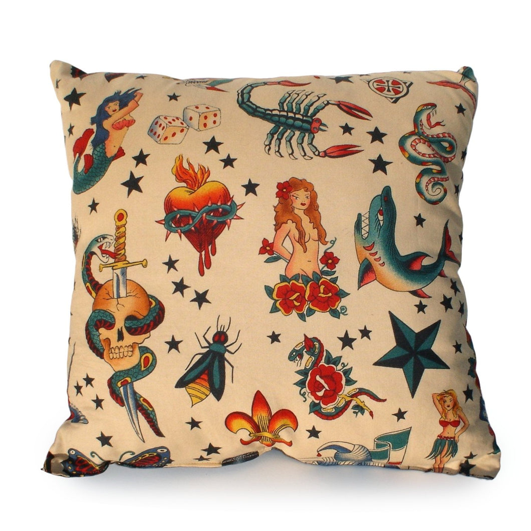 Tattoo Art Beige Throw Pillow, front