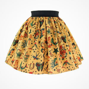 """Lindy"" Tattoo Mustard Skirt, front"