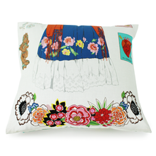 Load image into Gallery viewer, Frida White Throw Pillow Cover, back