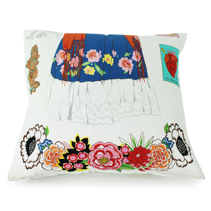 Frida White Throw Pillow Cover, back