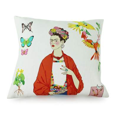 Frida White Throw Pillow Cover, front