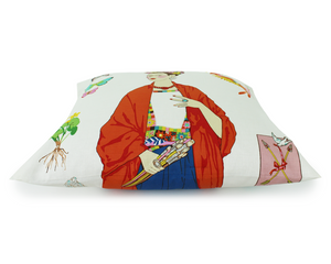 Frida White Throw Pillow Cover, side