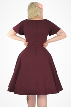 Load image into Gallery viewer, Wine Butterfly Dress, back