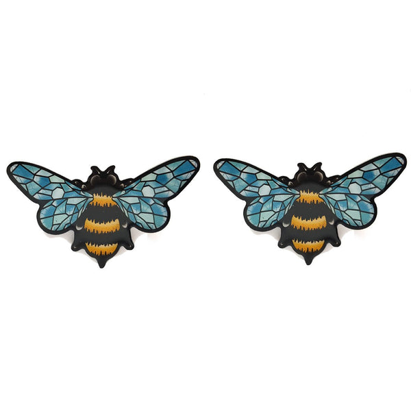 CRYSTAL QUEEN BEE STUD EARRINGS