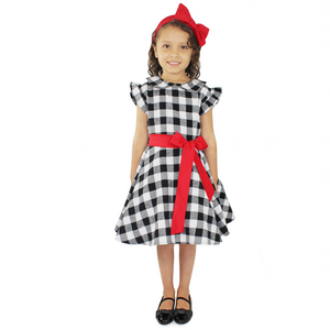 Girl's Holiday Black and White Plaid Dress