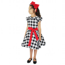 Load image into Gallery viewer, Girl's Holiday Black and White Plaid Dress