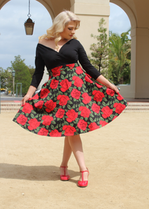 Red Rose Full Circle Skirt