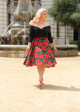 Load image into Gallery viewer, Red Rose Full Circle Skirt