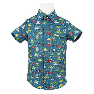 Boy's Retro Cars Christmas Snap Top
