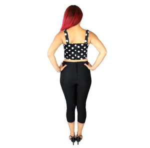 Model wearing Classic Black High Waist Capri Pants, back