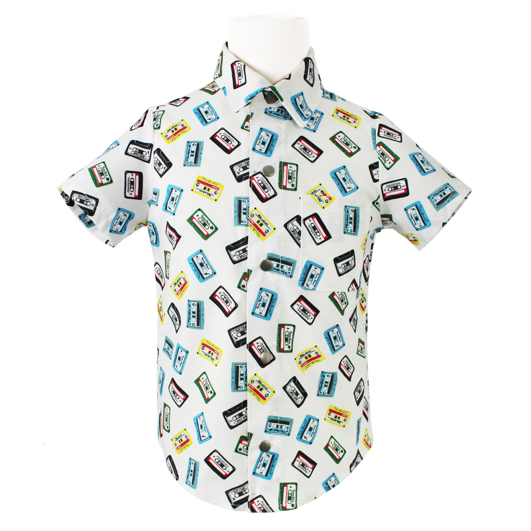 Boy's Retro Cassettes Snap Top