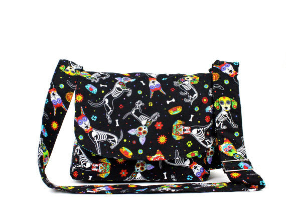 """What a Square"" Dog Day of the Dead Messenger Bag"