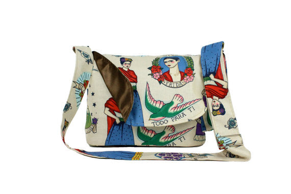 Beige and Colorful Frida Messenger Bag