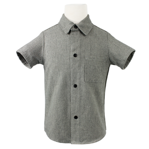 Boy's Holiday Heather Gray Snap Top