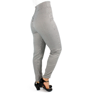 Houndstooth High Waist Cigarette Pants