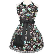 Load image into Gallery viewer, Day of the Dead Kitty Apron on mannequin