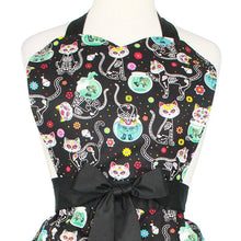 Load image into Gallery viewer, Day of the Dead Kitty Apron on mannequin close up
