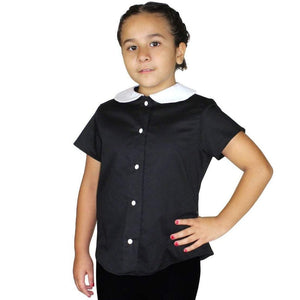 model wearing Girl's Wednesday Addams Inspired Top With Snaps