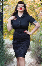 Load image into Gallery viewer, model wearing Pin Up Black Cheetah Pencil Skirt
