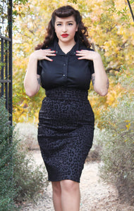 model wearing Pin Up Black Cheetah Pencil Skirt
