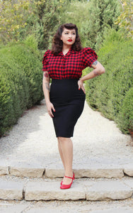 model wearing Holiday Plaid Pin Up Top - Buffalo Red