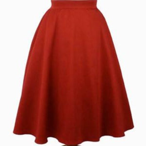 rustic red skirt