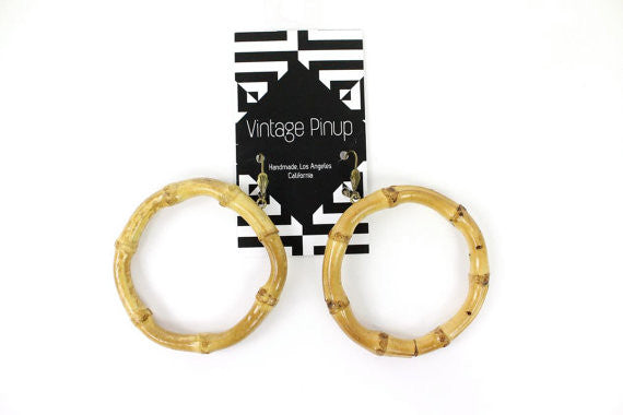 Tropical Tiki Bamboo Hoop Earrings
