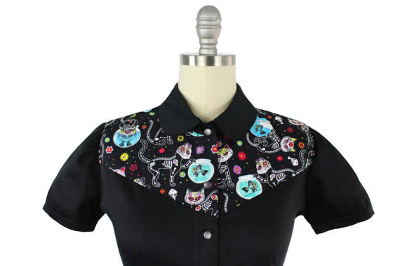 Rockabilly Western Kitty Kat Top With Snaps XS-4XL