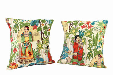 Frida In the Jungle Beige Pillow Cover - Upholstery Oxford Fabric