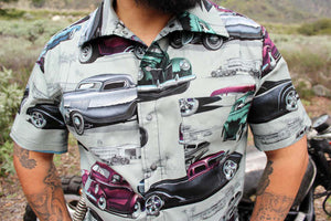 Men's Classic Cars Top In Gray, close up