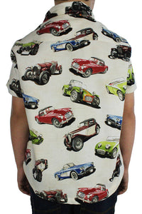 Boy wearing Classic Muscle Cars Boy's Snap Top, Back close up
