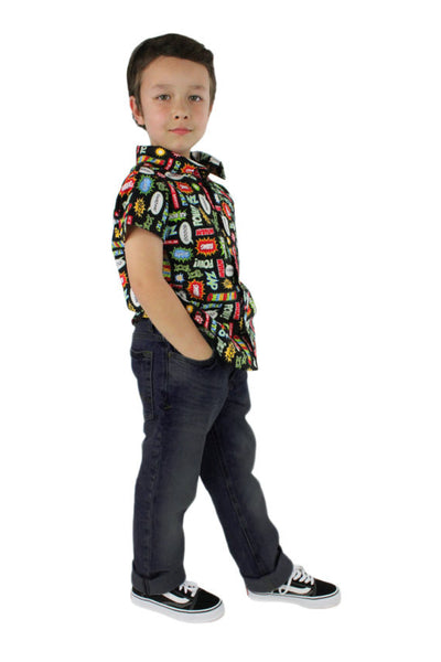 Boy's Vintage Superhero Snap Top