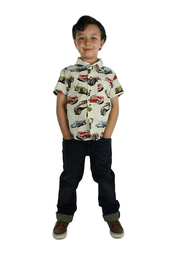 Boy wearing Classic Muscle Cars Boy's Snap Top, front