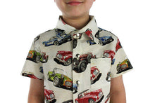 Load image into Gallery viewer, Boy wearing Classic Muscle Cars Boy's Snap Top, Close up of collar