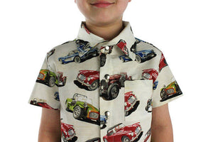 Boy wearing Classic Muscle Cars Boy's Snap Top, Close up of collar