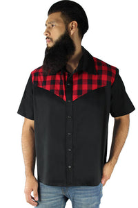 Men's Red and Black Plaid Western Top