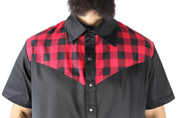 Men's Red and Black Western Top S-4XL