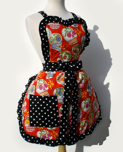 """Whisked Away"" Red Sugar Skulls & Glitter Apron"