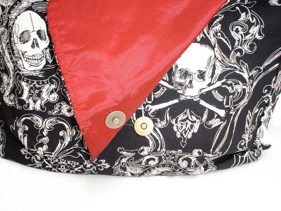 """What A Square"" Gothic Skulls and Crossbones  Messenger Bag"