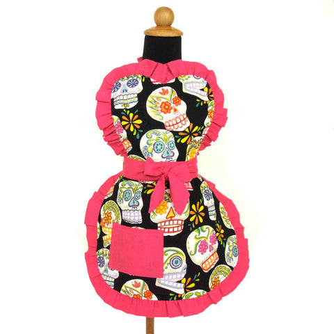 """Snack Sized"" Child Sugar Skull and Hot Pink Apron"