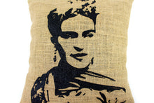 Load image into Gallery viewer, Frida Hand Printed Burlap Pillow Cover, front