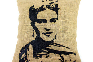 Frida Hand Printed Burlap Pillow Cover, front