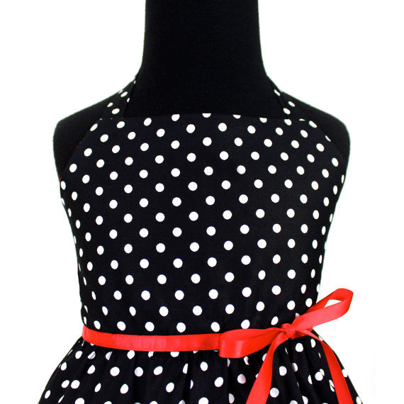 Vintage Inspired Black Polka Dot Girl's Dress