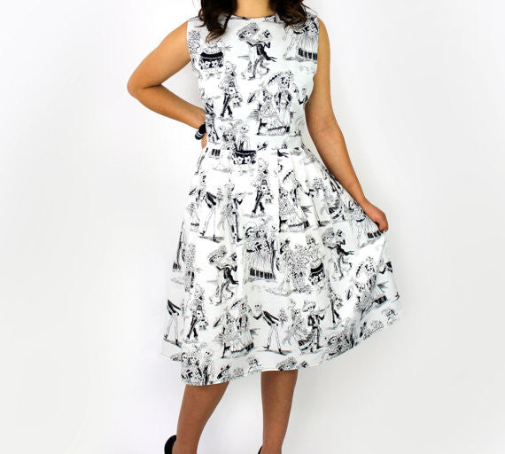 Black and White Day of the Dead Pleated Dress