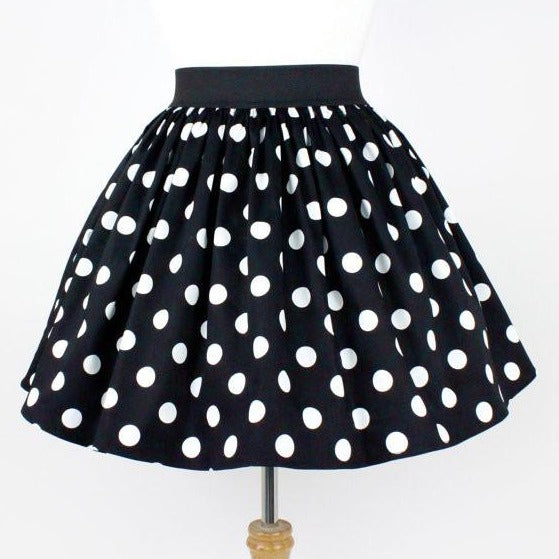 """Lindy"" Black Polka Dot Skirt"