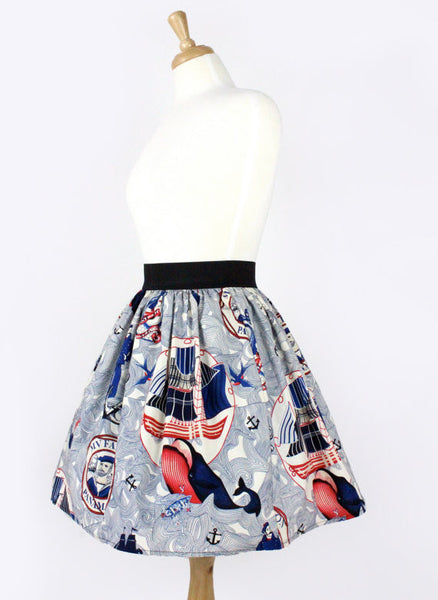"""Lindy"" Lost at Sea Nautical Skirt"