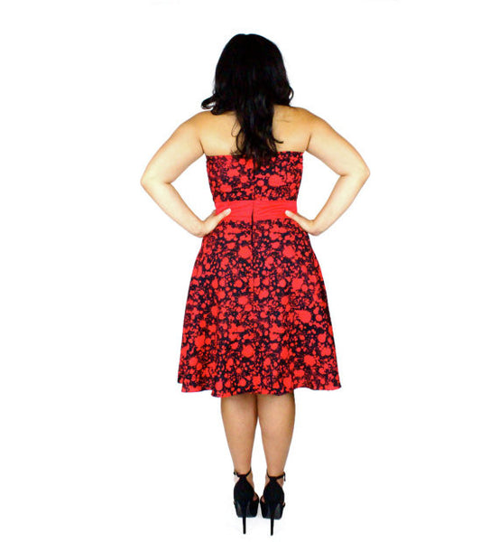Strapless Psychobilly Blood Splatter Dress